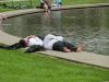 Am Multimediabrunnen kann man sich nach einem anstrengenden Bürotag echt gut entspannen