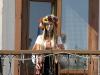 Dieses Mädchen hält auf dem Rathausbalkon die patriotische Anfangsrede im traditionellen Outfit