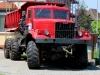 Ein roter Gruß vom Großen Bruder - es ist ein LKW der Krementschuker Autowerke, genannt KrAZ.