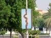 Solche und ähnlich gestaltete Schilder an den Straßenlaternen sahen wir oft sowohl in Dubai als auch in Abu Dhabi - witzig!